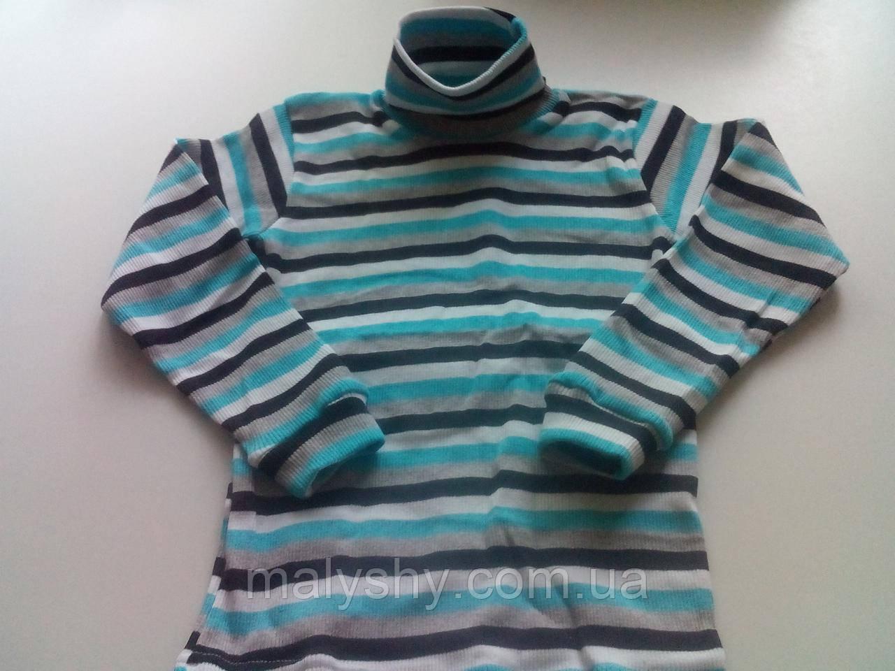 Водолазка полосатая 230219407, рост 134-140 размер 72 / голубой-белый-черный-серый