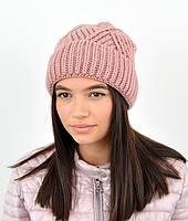 Молодежная шапка на флисе 3408 т.пудра