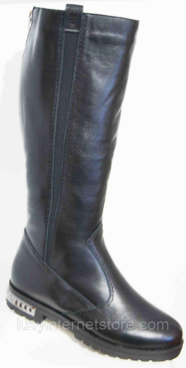 Сапоги женские зимние кожаные большого размера на низком каблуке от производителя модель МИ5211-6К