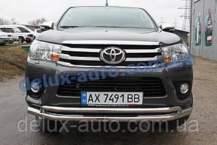Защита переднего бампера Original Toyota Hilux 2015+ Дуга передняя ORG из нержавейки на Тойота Хайлюкс 2015+
