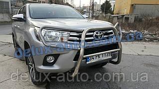 Защита переднего бампера кенгурятник с защитой фар на Тойота Хайлюкс 2015+ Кенгур с защитой картера Toyota