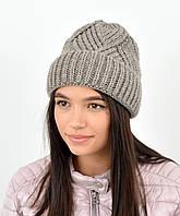 Молодежная шапка на флисе 3408 капучино, фото 1