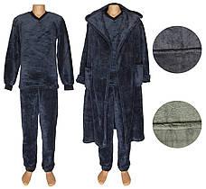 Комплект мужской махровый 18301 18302 Classic Grey вельсофт, пижама и халат