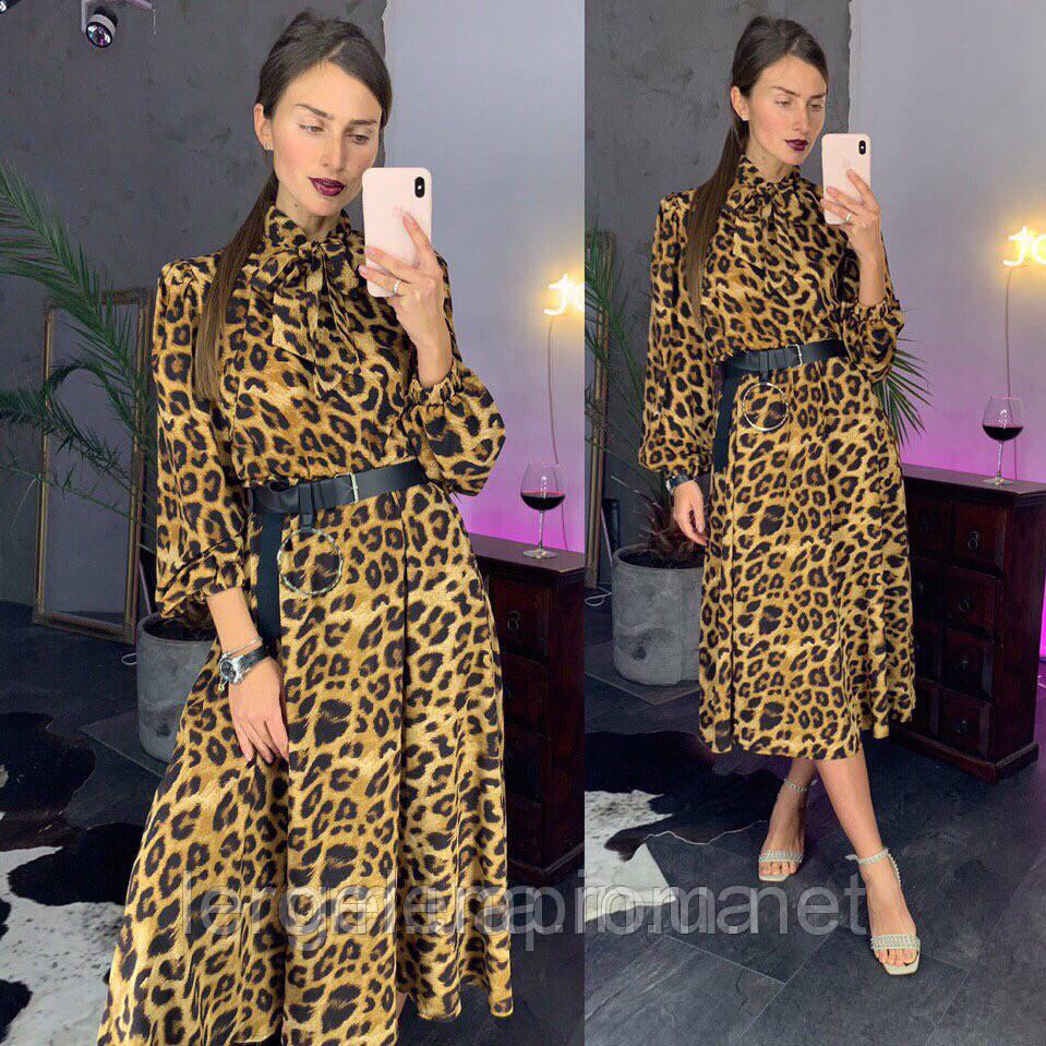 Модное платье принт леопард