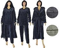 Комплект женский махровый 18301 18302 Classic Grey вельсофт, пижама и халат, р.р.44-62