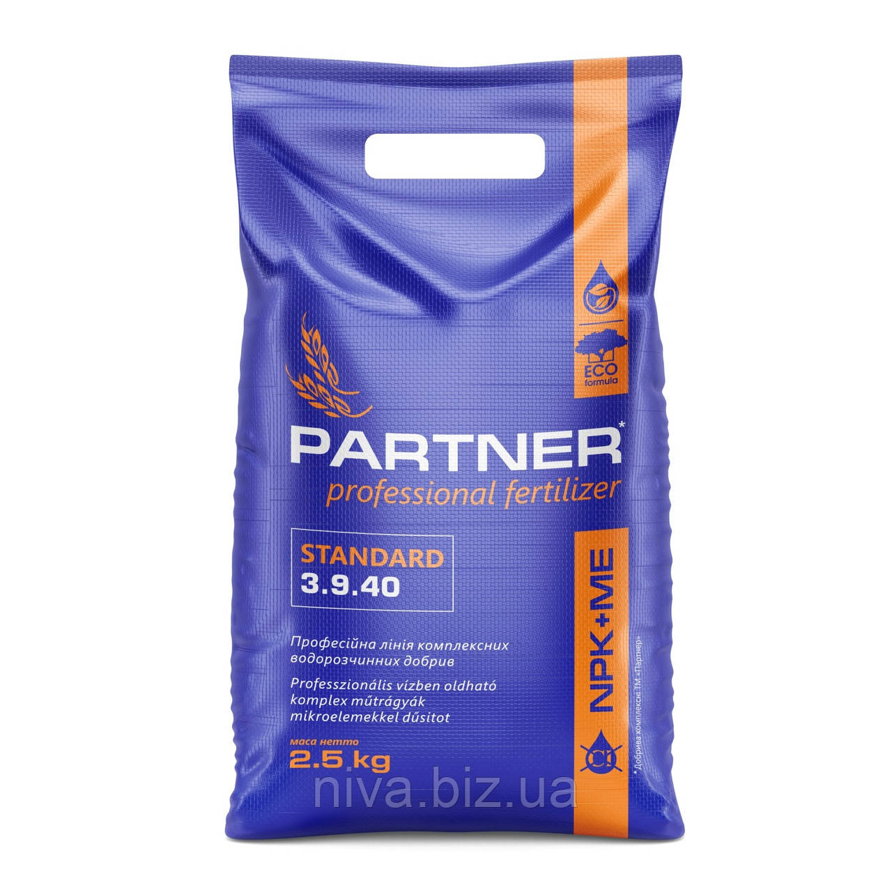 Партнер (Partner) Standard комплексне водорозчинне добриво NPK 3.9.40+S+Me+MgO 2,5 кг