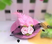 Заколка шляпка розовая