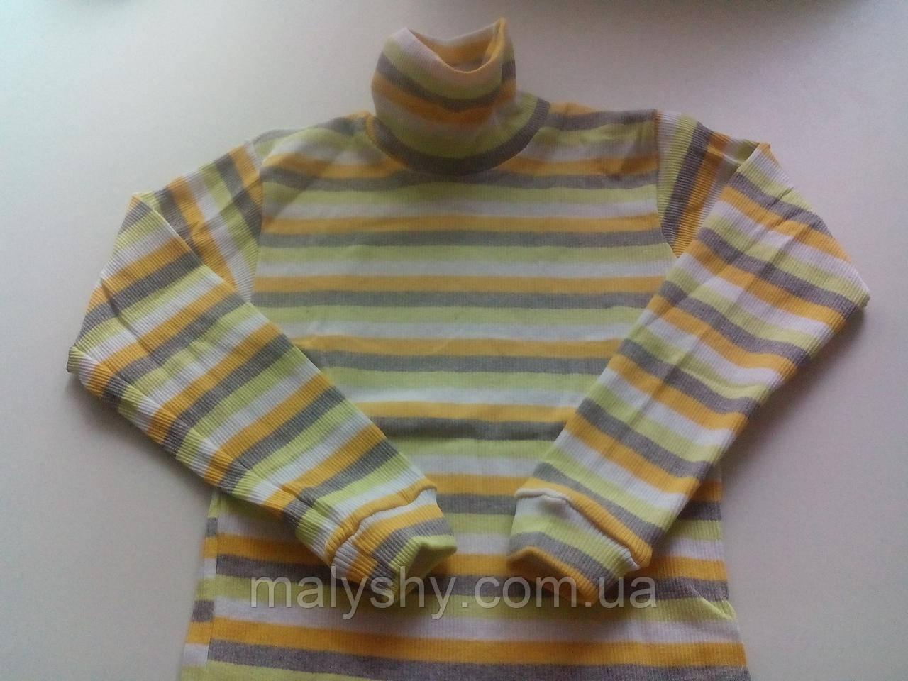 Водолазка полосатая 230219407, рост 134-140 размер 72 / желтый-серый-салатовый-белый