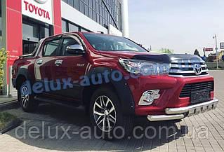 Защита переднего бампера труба с грилем Toyota Hilux 2015-2019 Дуга с клыками никель для Тойота Хайлюкс 2015+