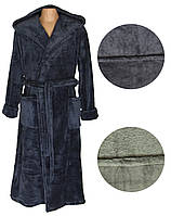 Халат махровый мужской с капюшоном 18302 Classic Grey вельсофт