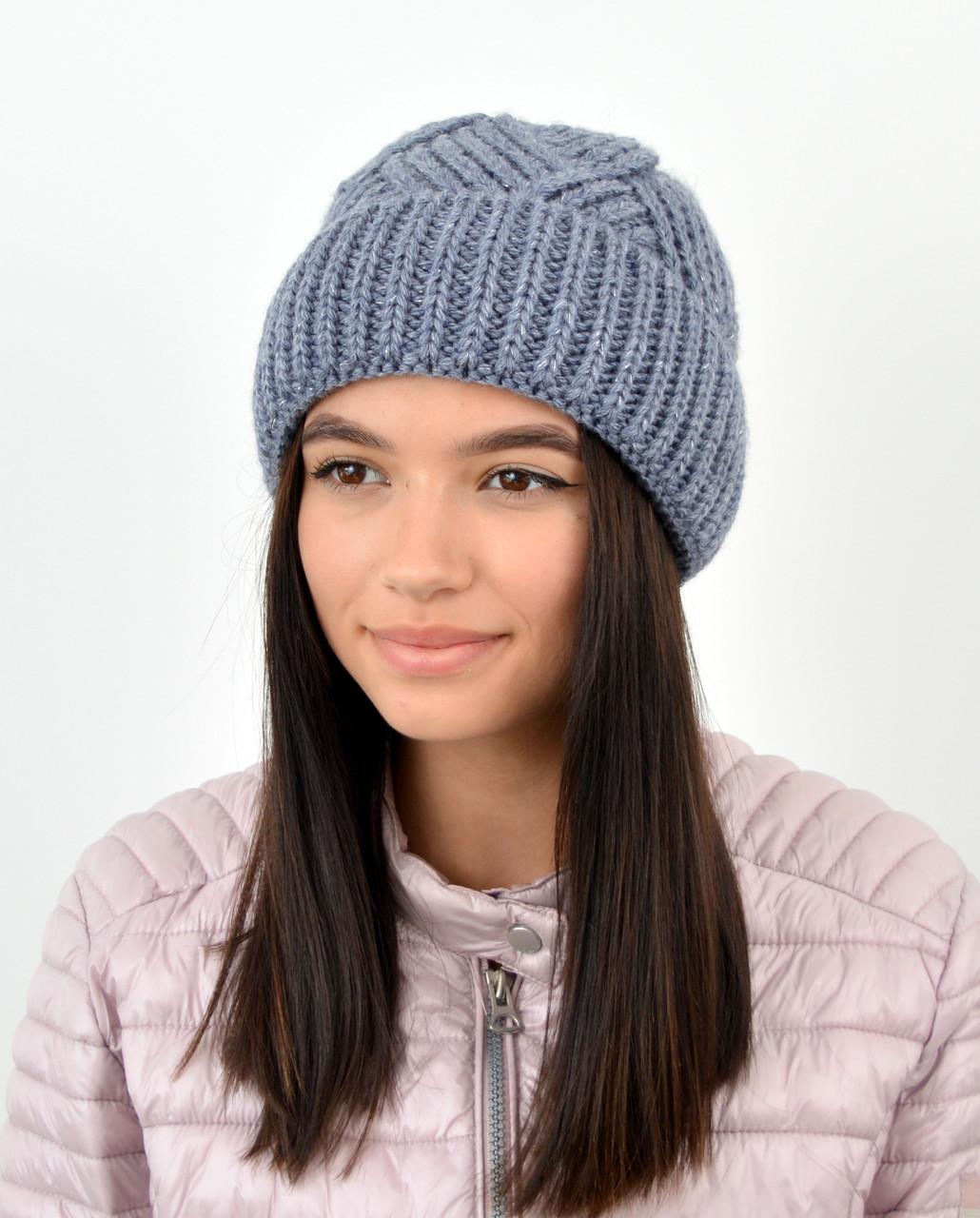 Молодежная шапка на флисе 3408 джинс