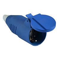 Гнездо переносное АСКО-УКРЕМ 16А/2 (220В) 2Р+РЕ (212) синее