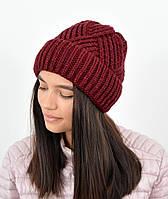 Молодежная шапка на флисе 3408 марсала, фото 1