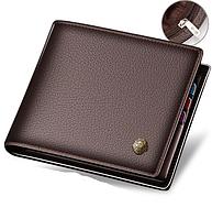 Мужской кошелек коричневый натуральная кожа код 322