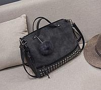 Женская черная вместительная сумка из искусственной кожи код 3-406