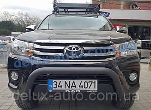 Защита переднего бампера кенгурятник передний низкий черный матовый на Toyota Hilux 2015-2019 дуга передняя