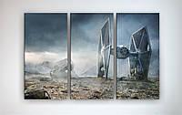 Современный настенный декор для интерьера подростка Звездные войны Star Wars 90х60 из 3х частей