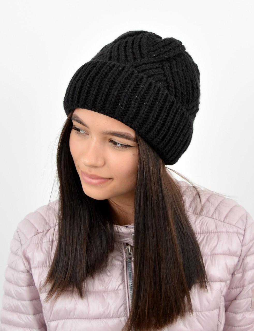 Молодежная шапка на флисе 3408 черный