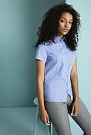 Рубашка для официанта женская голубая с коротким рукавом Atteks - 02322