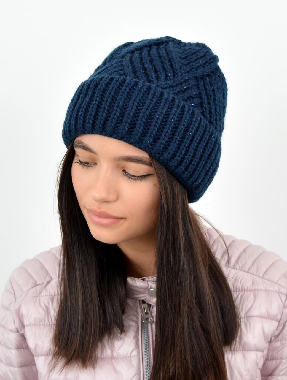 Молодежная шапка на флисе 3408 синий