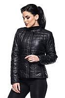 Стильная короткая женская осенняя модная стеганая приталенная куртка с карманами размеры 42-54. Арт-4005/1