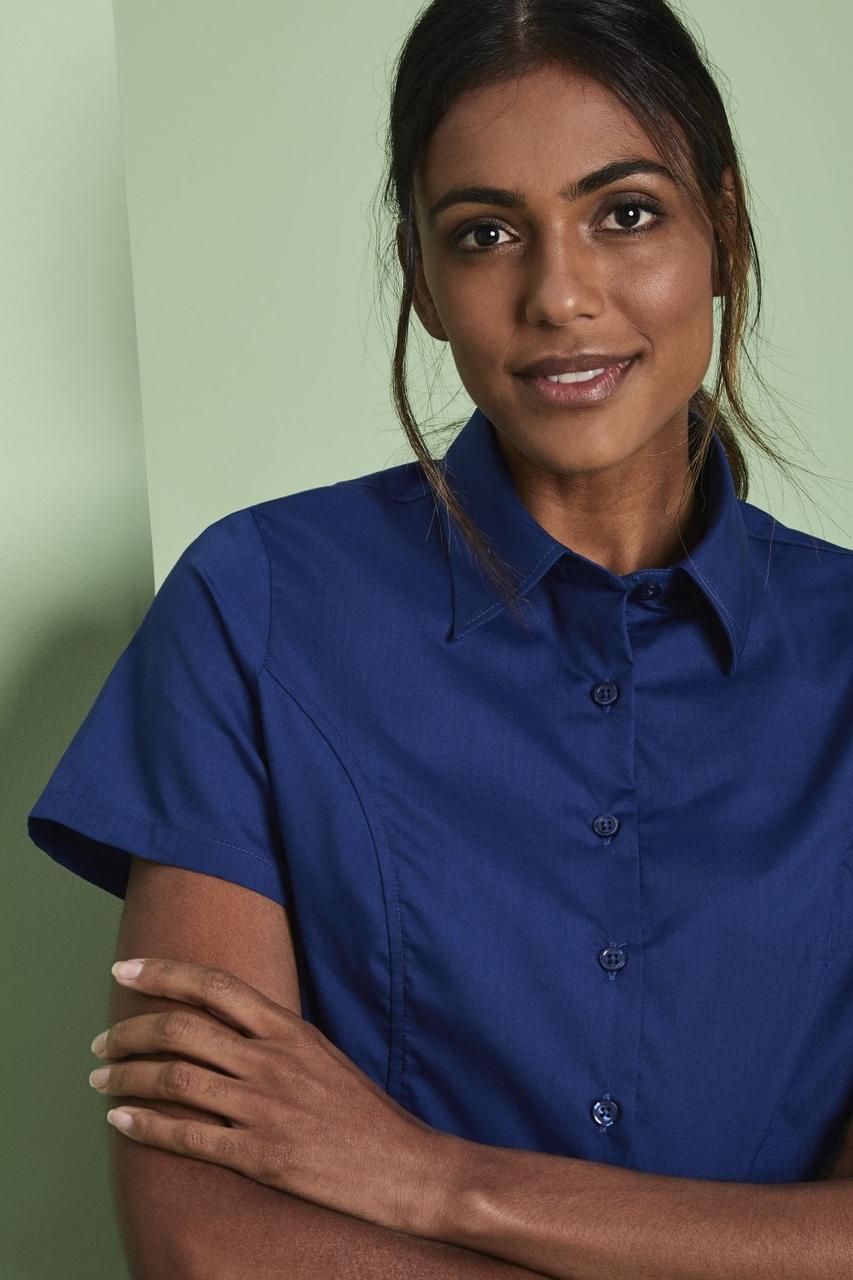 Рубашка для официанта женская темно-синяя с коротким рукавом Atteks - 02324