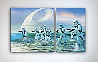 Декор для стены картина модульная на холсте Звездные войны Star Wars Штурмовики 100х60 из 2х частей