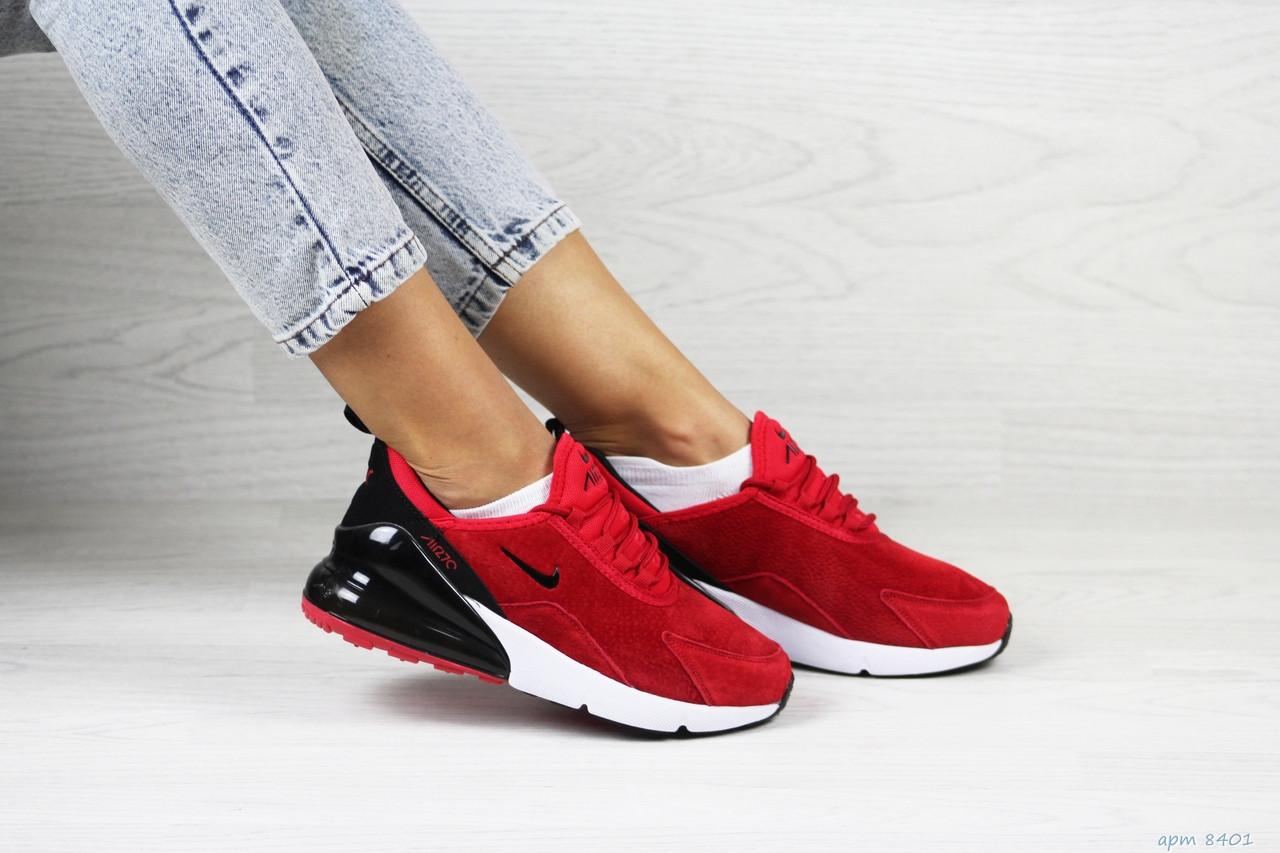 Замшевые женские кроссовки Nike Air Max 270,красные