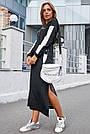 Чёрное платье спортивное длинное женское с люрексом повседневное молодёжное, фото 6