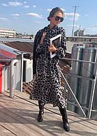 Платье с бантом леопардовый принт