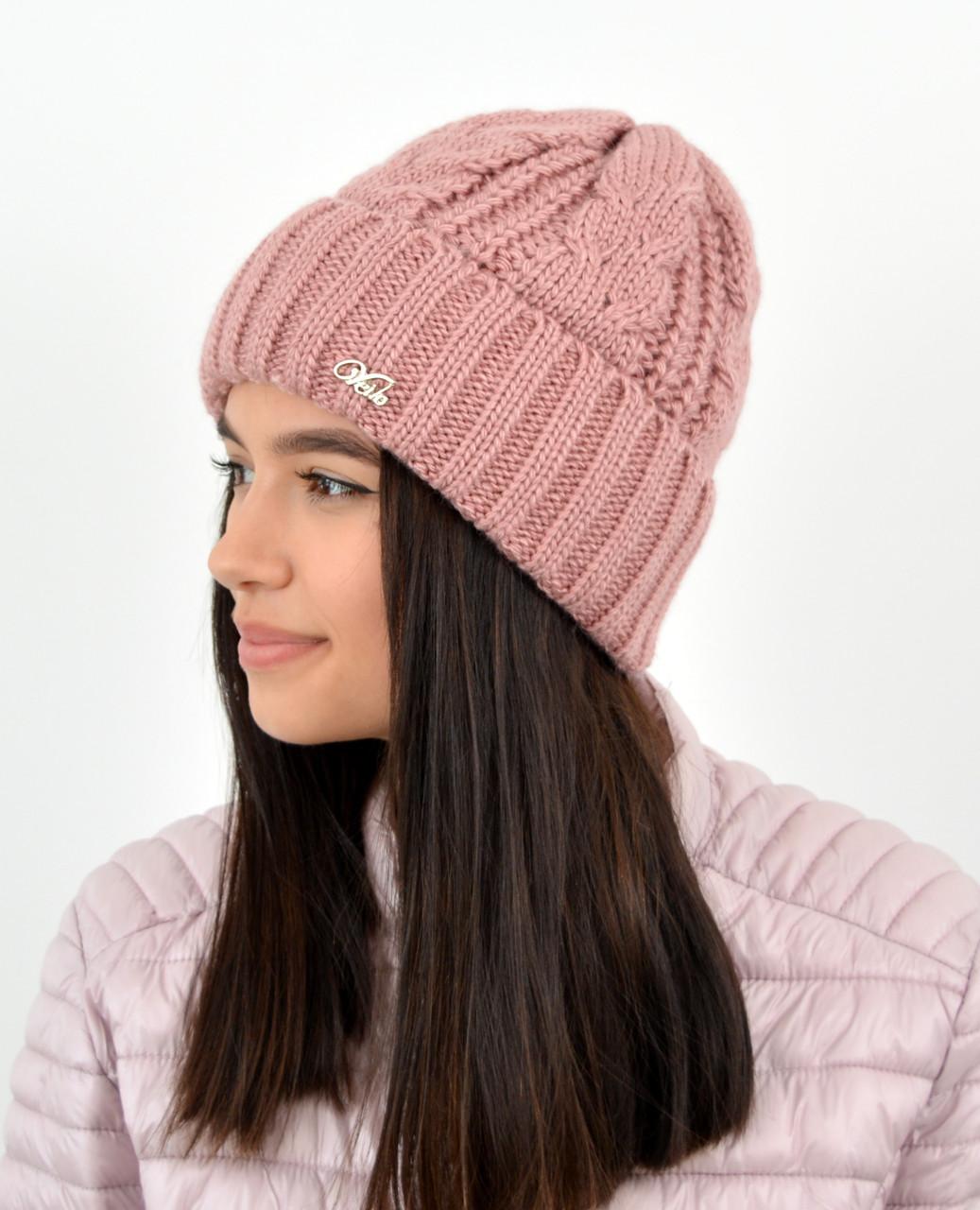 Женская шапка veilo 3383 т.пудра
