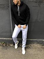 Теплая черная мужская толстовка (худи с капюшоном, кофта, кенгурушка) / ОСЕНЬ-ЗИМА