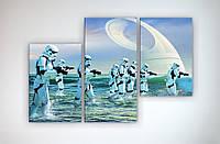 Оригинальная картина модульная на холсте Звездные войны Star Wars Штурмовик 90х60 из 3х частей