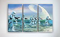Современная картина модульная на холсте Звездные войны Star Wars Штурмовик 90х60 из 3х частей