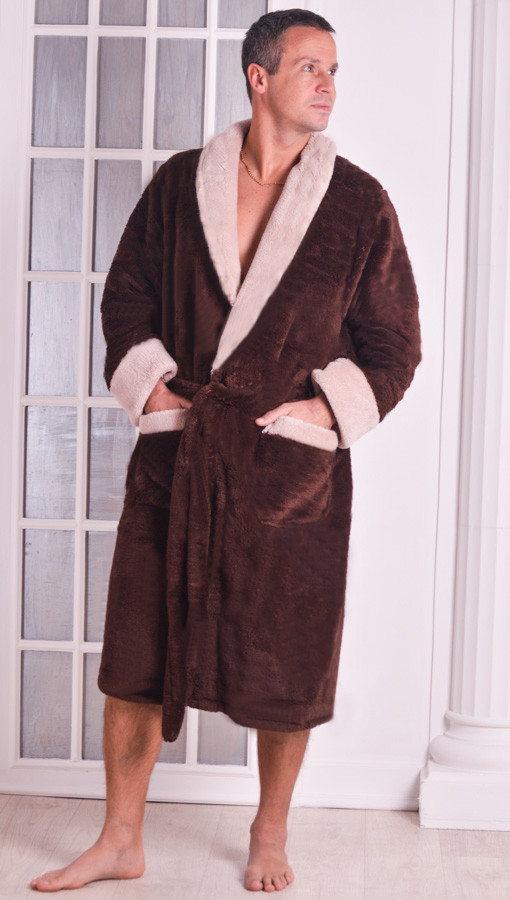 Халат мужской теплый Велсофт коричневый размеры 48-54