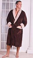 Халат мужской теплый Велсофт коричневый размеры 48-54 52