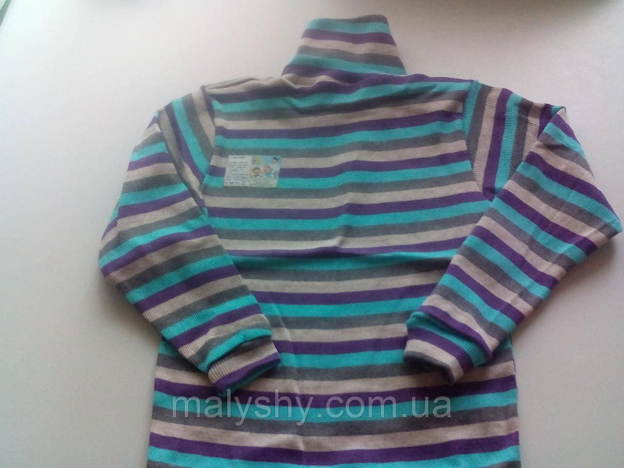 Водолазка полосатая 230219407, рост 140-146 размер 76 / сиреневый-беж-серый-голубой