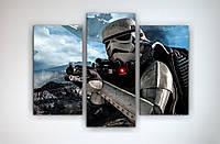Картина модульная печать на холсте на заказ Звездные войны Star Wars Штурмовик 90х60 из 3х частей