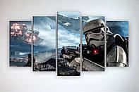 Настенный декор картина модульная на холсте Звездные войны Star Wars Штурмовики 125х70 из 5 частей