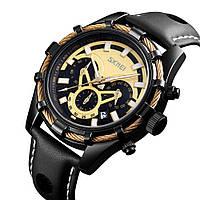 Часы мужские SKMEI кварцевые водонепроницаемые черные с кожаным ремешком.