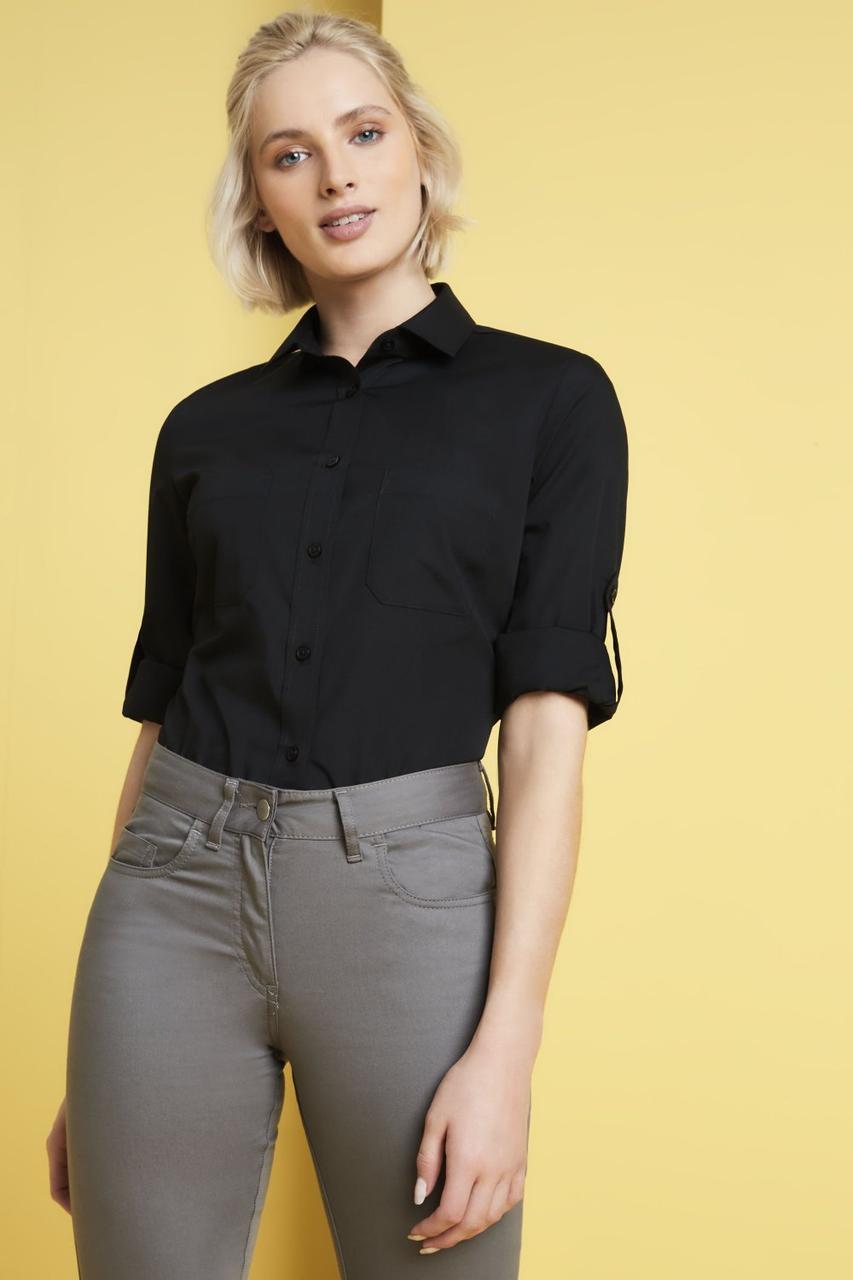 Рубашка для официанта женская черная с карманами Atteks - 02325