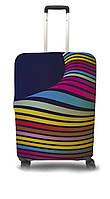 Чехол для чемодана Coverbag волны  M желто-розовый