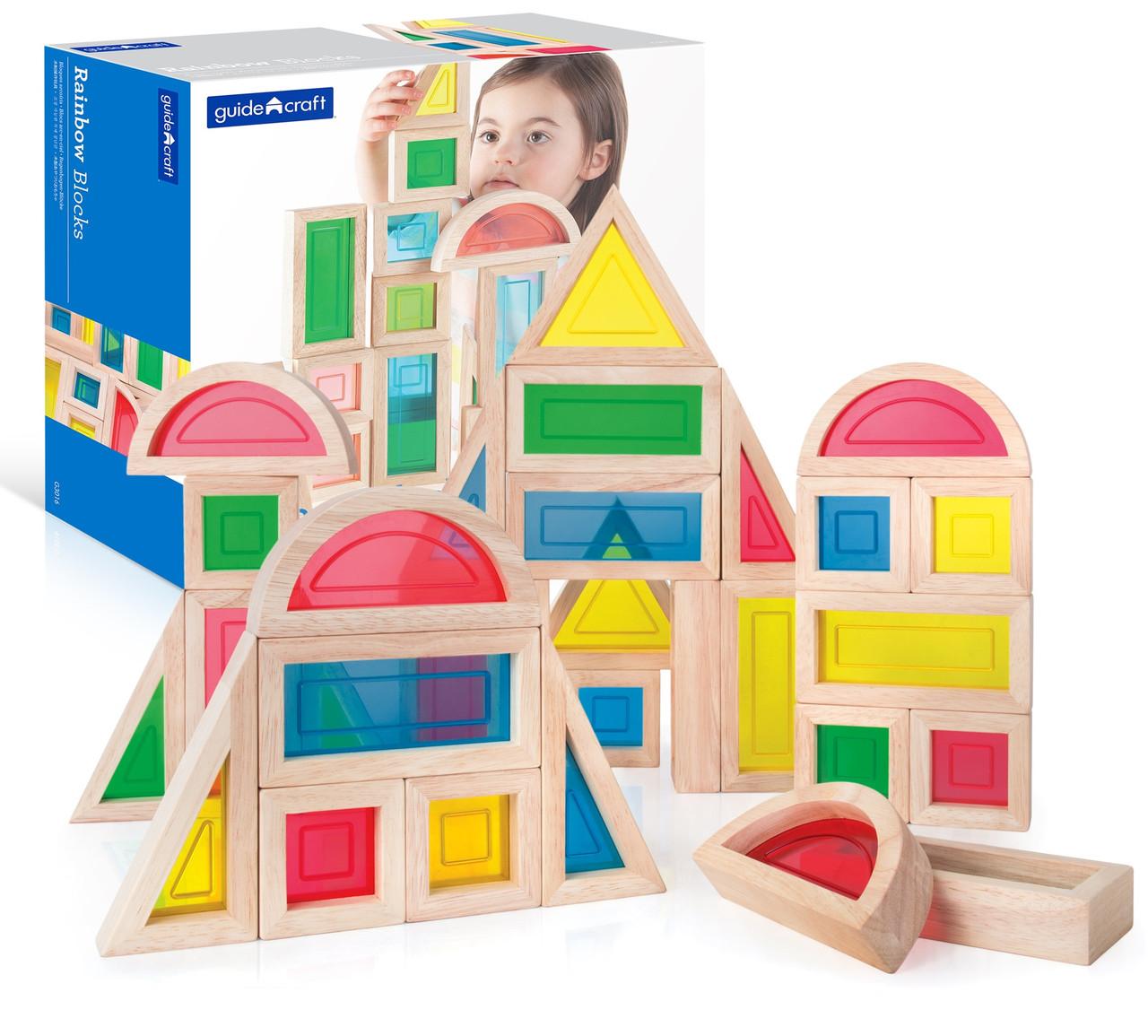 Набор стандартных блоков Большая радуга Block Play Guidecraft 30 шт. (G3016)