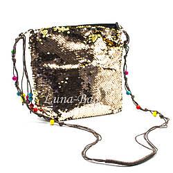 """Детская сумка с пайетками """"Beads""""  5 Цветов Золотой (Размер: 20*23*5)"""