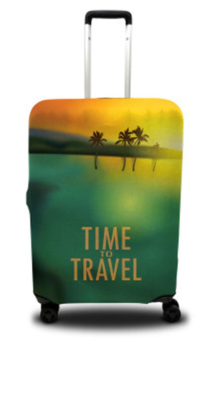 Чехол для чемодана Coverbag пальмы S зеленый