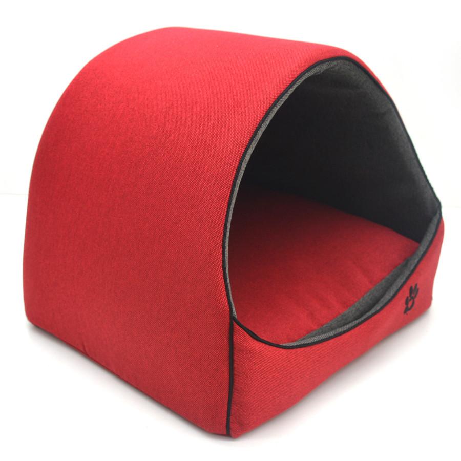 Будка для котов и собак Loft №2 42,5х37,5х37,5 см красно-серая