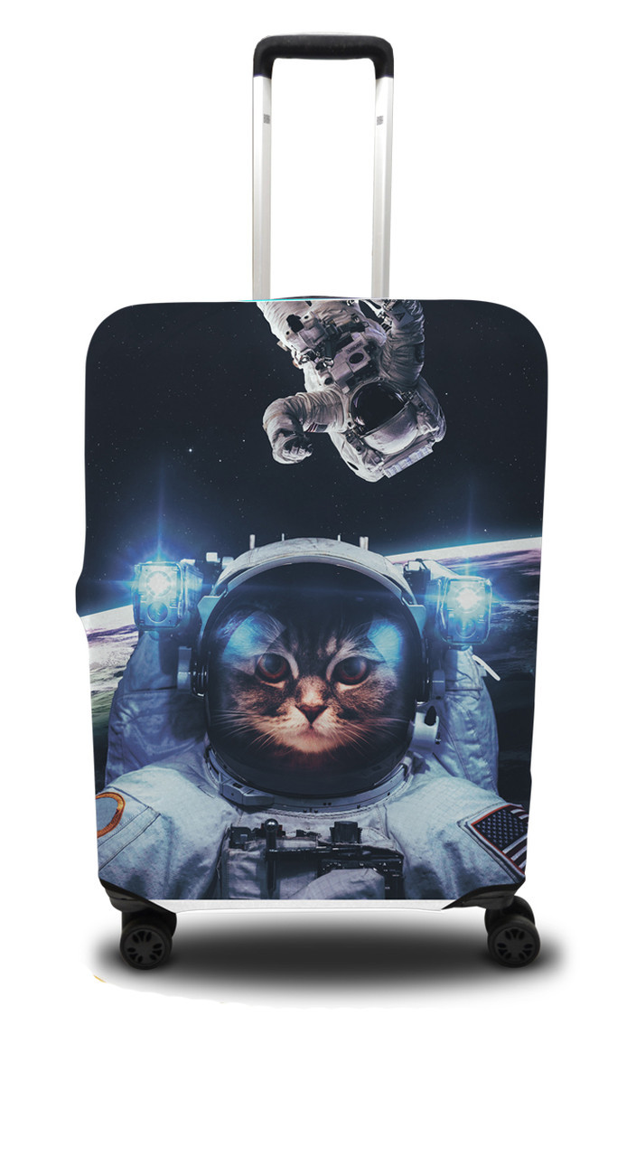 Чехол для чемодана Coverbag кот L сине-черный