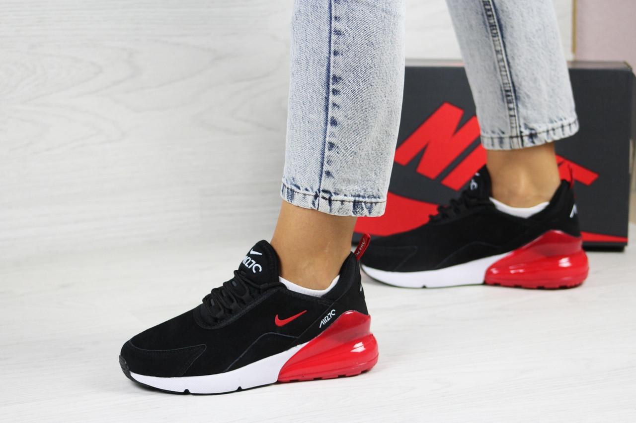 Замшевые женские кроссовки Nike Air Max 270,черно-белые с красным 37,39р