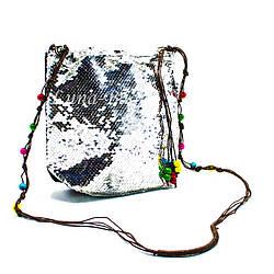 """Детская сумка с пайетками """"Beads""""  5 Цветов Серебряный (Размер: 20*23*5)"""