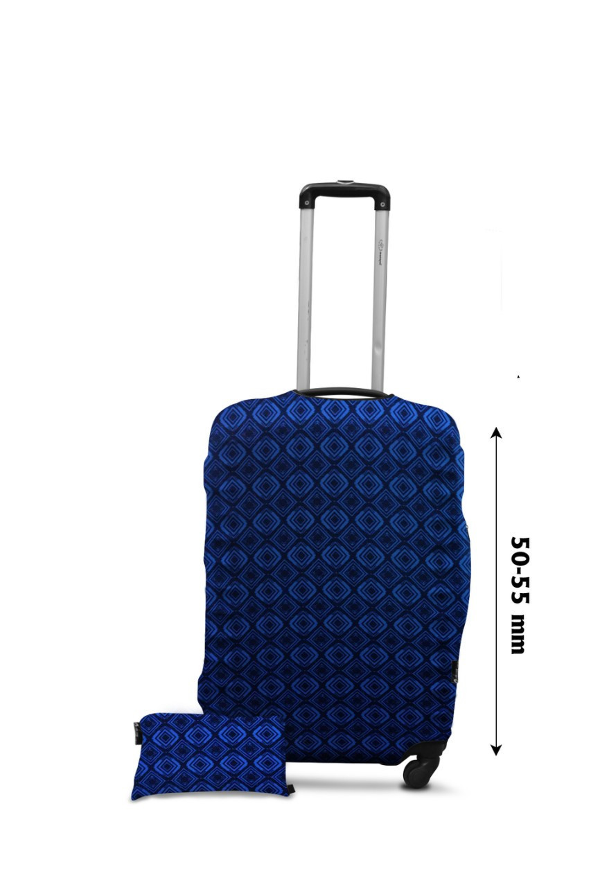Чехол для чемодана  Coverbag дайвинг  M ромбы голубые